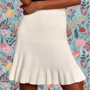 Free People Solid Gold Ribbed Knit Skirt Cream